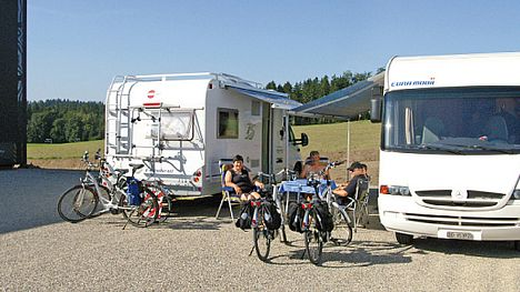 The free camper van site at FLYER in Huttwil (Switzerland)
